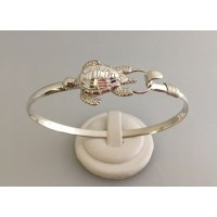 RA9364MBSS Sterling Silver Diamond Cut Turtle Bangle