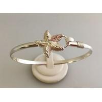 RA15784MBSS Sterling Silver Diamond Cut Starfish Bangle