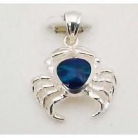 RARD230PS Sterling Silver Small Crab Opal Pendant
