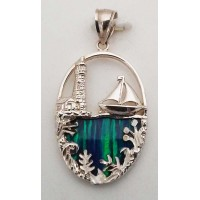RARD254S Sterling Silver Boat and Lighthouse Opal Pendant