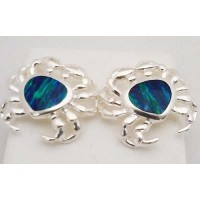 RARD233PERS Sterling Silver Large Crab Opal Post Earrrings