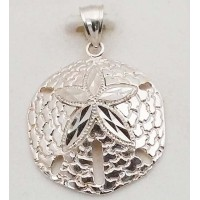 RARD1993PS Sterling Silver Diamond Cut Sanddollar Pendant