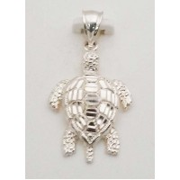 RARD936PS Sterling Silver Diamond Cut Moveable Turtle Pendant