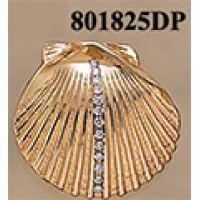 Large Scallop Shell with 25 Points of Diamonds Pendant