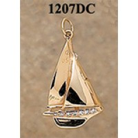 RA1207DC Large Sailboat with 24 Pts. of Diamonds Charm