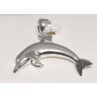 RARD847PS Sterling Silver Large Dolphin Pendant