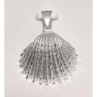 RARD988PS Sterling Silver Diamond Cut Scallop Shell Pendant