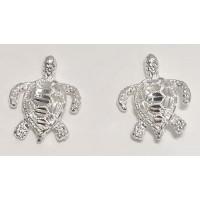 RARD1602PERS Sterling Silver Diamond Cut Turtle Post Earrings