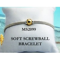 MS2099 Two Tone Single Ball Soft Snake Beach Bracelet